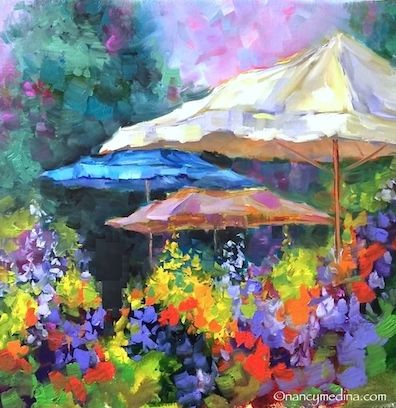 French Market Flower Quest, a Sonoma Workshop, and Civic Duties Call - Paintings by Nancy Medina, painting by artist Nancy Medina