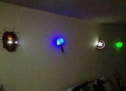 Iron Man, Thor, Captian America and Green Lantern lights