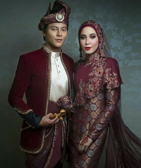 Dark Maroon Songket Wedding Dress