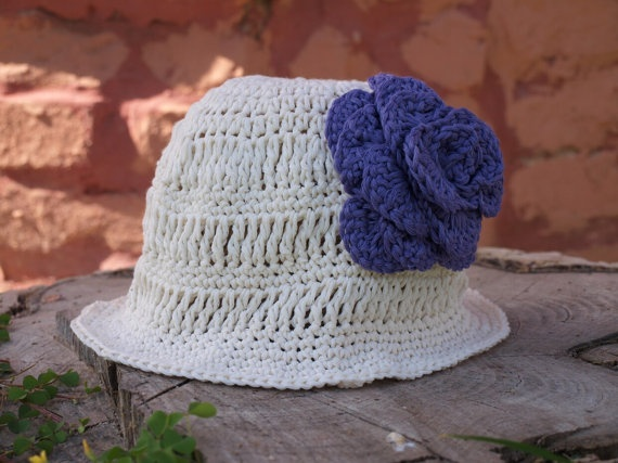Girls crochet ivory summer hat cotton  hat handmade by elenis4you, $20.00