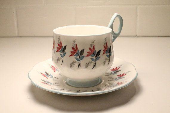 Teacup and Saucer China Teacup  Rosina Tea Cup by ClockworkRummage, $12.75