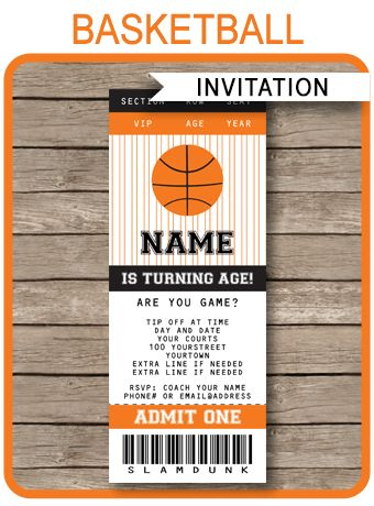INSTANTLY DOWNLOAD this Basketball Ticket Invitation template. Personalize it easily at home and get your Basketball party started right now!