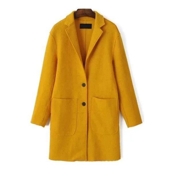 SheIn(sheinside) Yellow Single Breasted Pocket Wool Blend Coat (555 MXN) ❤ liked on Polyvore featuring outerwear, coats, yellow, wool blend coat, single-breasted trench coats, yellow coat, leather-sleeve coats and knee length coat