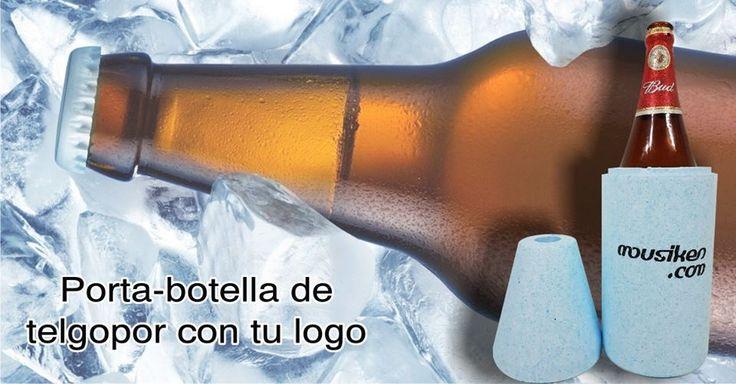 porta botella de telgopor con tu logo a un color en ambas caras