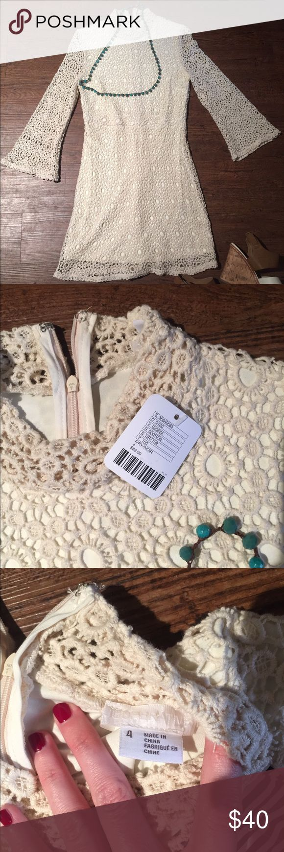 Cooperative UO Cream Mini Dress Adorable cream crochet minidress from Urban Outfitters. Never worn, with tags. Urban Outfitters Dresses Mini