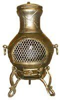 Blue Rooster - ALCH028-GLD - Etruscan Style Cast Aluminum Chiminea - Gold Accent - by Blue Rooster. $189.95. Decorative Removable Rain Lid. Safe Single Opening Traditional Chiminea. Non-Rusting Solid Cast Aluminum Alloy. Image May Vary - Please See Product Title for Actual Size and Color!. Detailed Vine Design. Compact, detailed vine design with carry handles. This small outdoor chiminea makes a great centerpiece for entertaining friends and family.The Blue Rooster Company is a ...