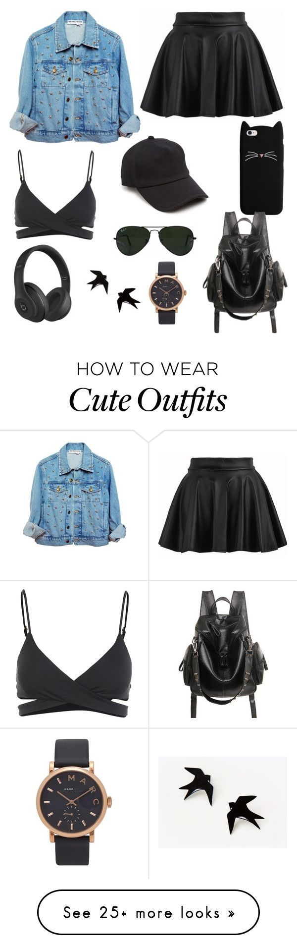 """Outfit #29"" by nemeanlion on Polyvore featuring L*Space, rag & bone, Ray-Ban, Beats by Dr. Dre and Marc Jacobs"