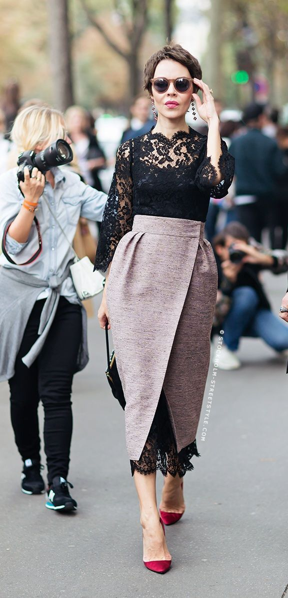 Skirt over dress. Hot off the runway!