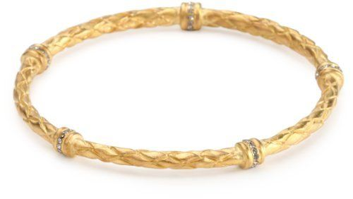 """Paige Novick Skinny Braided """"Surf Club"""" Pale Gold Bangle Bracelet Paige Novick. $162.00. This bangle is proudly handmade in Manhattan. This piece is plated in 14k gold. Made in United States. This bangle is adorned with Swarovski crystal"""