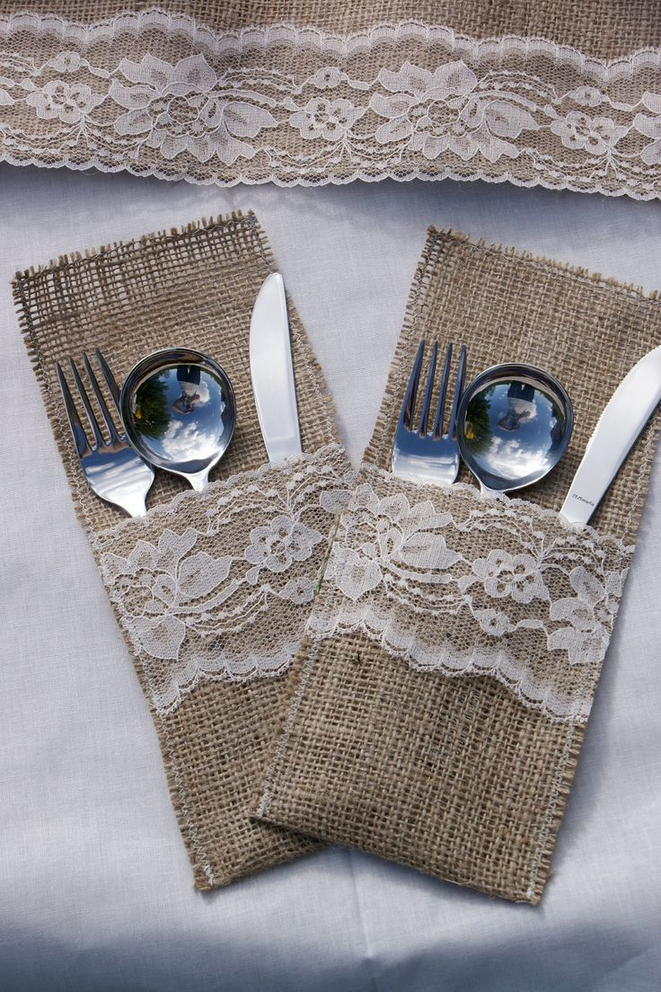 Set of 6 burlap cutlery holders. $12.00, via Etsy. DIY this could be done easily