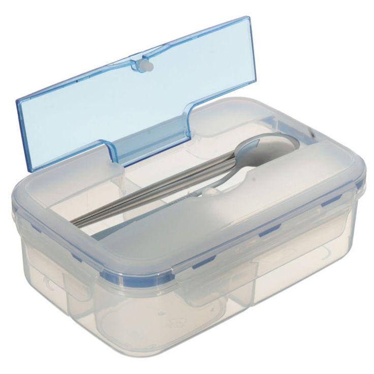Moderna Vendedora caliente Caja de Almuerzo de Microondas Portátil Al Aire Libre Respetuoso Del Medio Ambiente con Sopa Tazón Palillos Cuchara de Contenedores de Alimentos 1000 mL