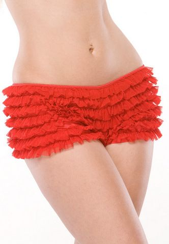 Sexy Red Ruffled Booty Shorts www.tickledpinksextoys.com