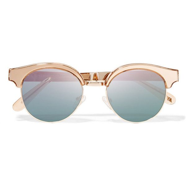 Le Specs Luxe Cleopatra cat-eye metal mirrored sunglasses ($100) ❤ liked on Polyvore featuring accessories, eyewear, sunglasses, gold, clear mirrored sunglasses, cat-eye glasses, mirror lens sunglasses, half frame glasses y mirror sunglasses
