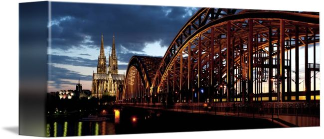 """Hohenzollern Bridge Cologne Germany"" by Ik Stores,  // { 'dimensions': { 'width': 48, 'height': 16 }, 'material': 26, 'size': 3 } // Imagekind.com -- Buy stunning fine art prints, framed prints and canvas prints directly from independent working artists and photographers."