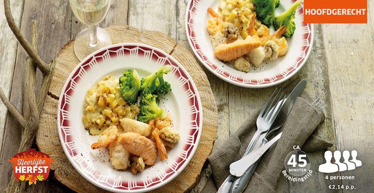Krokante vis met romige aardappelen en broccoli