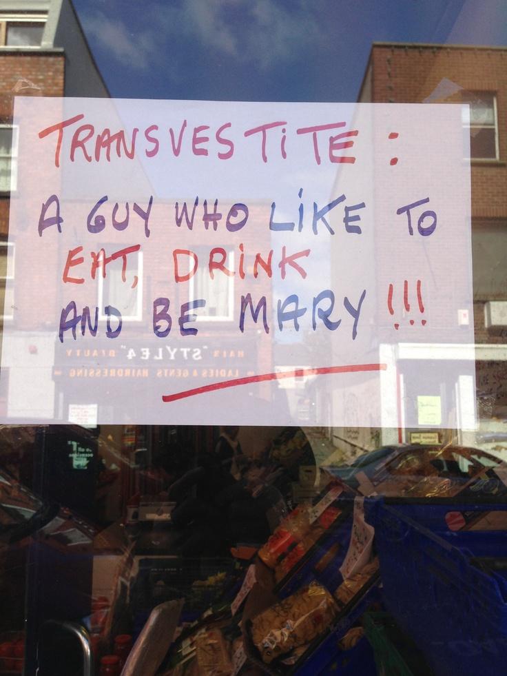 Saturday humour in a Liberties' shop window
