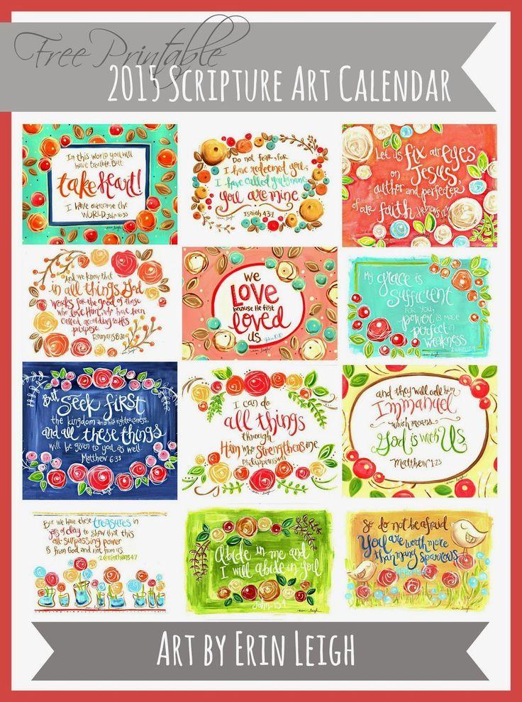 2015 Free Printable Scripture Art Calendar, Bible verse calendar, Christian calendar, christian gift, 2015 handmade wall calendar, art by erin leigh