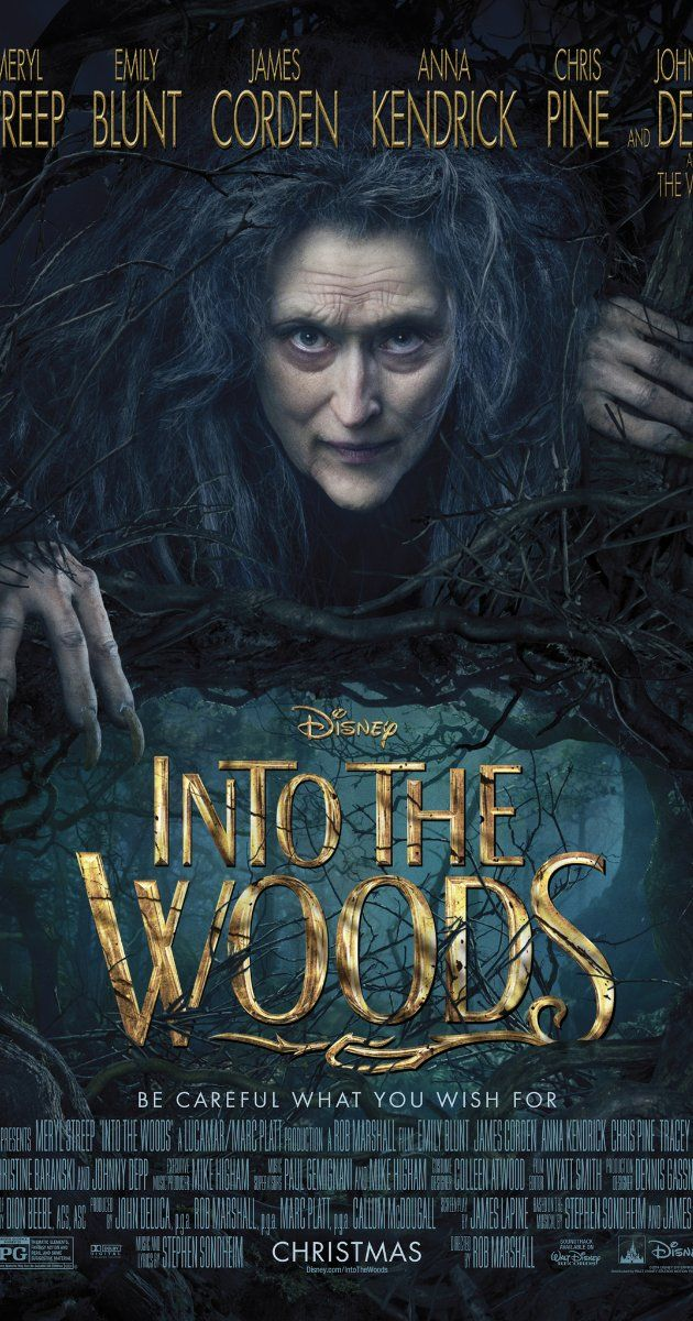 Directed by Rob Marshall.  With Anna Kendrick, Meryl Streep, Chris Pine, Emily Blunt. A witch conspires to teach important lessons to various characters of popular children's stories including Little Red Riding Hood, Cinderella, Jack and the Beanstalk and Rapunzel.