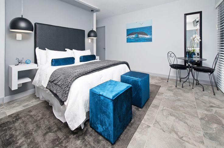 Modern blue and grey guest bedroom design