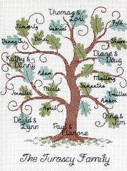 Curvy Oak Family Tree Counted Cross Stitch Kit