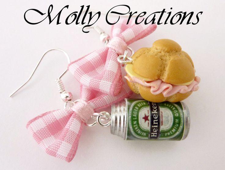 Orecchini in Fimo panino e birra Heineken, by Molly Creations, 5,00 € su misshobby.com