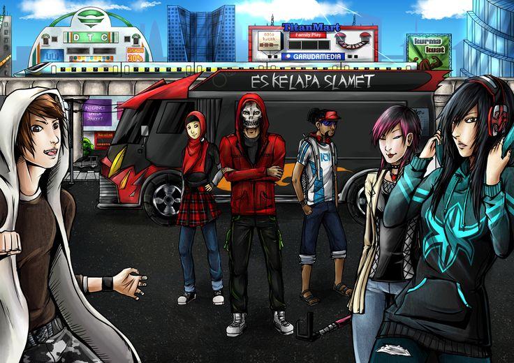 UrbanCorps protagonists #urban #hero #corps #urbanherocorps #katrine #martha #katrinemartha #elanto #darrel #elantodarrel #lyna #mutia #lynamutia #slamet #bin #reaper #slametbinreaper #julius #maximilan #juliusmaximilan #selvi #xifengchuyu #xi #feng #chuyu #futuristic #truck #cyberpunk #emogirl #metalhead #skull #hoodie #badassheadphone #badass #headphone #comic #comiccharacter #character #komik #indonesia #darahan #city #darahancity #visor #cap #visorcap #parking #es #kelapa #urbancorps