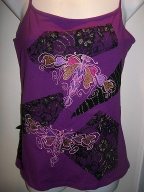 Made to Order in your size Embroiderd Butterflies Tank by Letzrock, $49.00