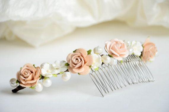 Wedding hair accessories Ivory flower crown by FaberAccessories