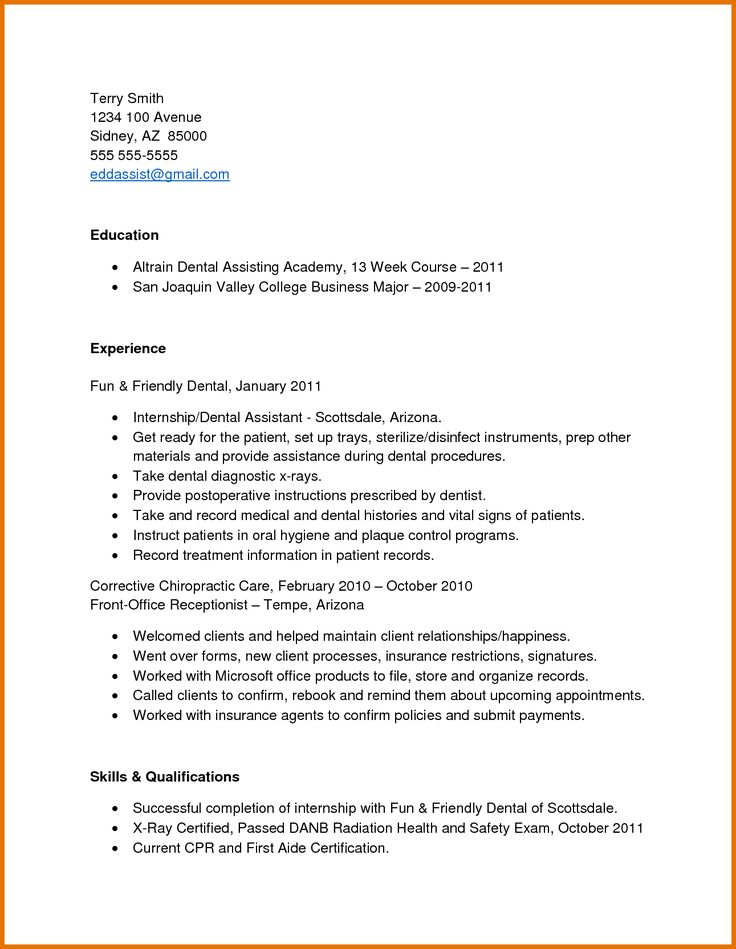 application letter for dental assistant experience resume cover free