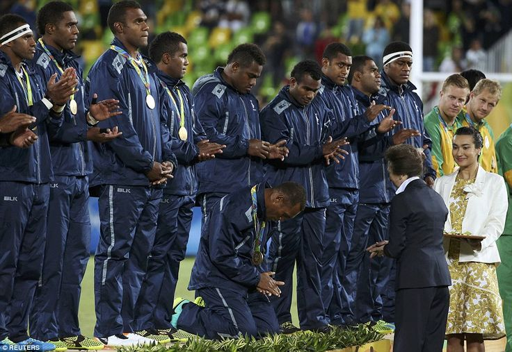 Fiji's rugby players have shown Britain's Princess Anne the deepest respect during their award ceremony after they walked away with the nati...