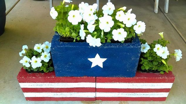 stars and stripes cinder block planters, container gardening, gardening, how to, outdoor furniture, patriotic decor ideas, seasonal holiday decor
