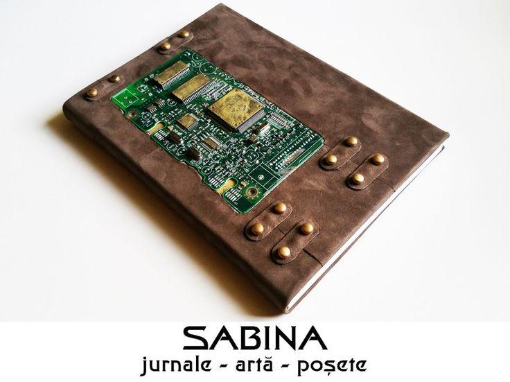 Jurnal A5, piele cu nituri si placa electronica