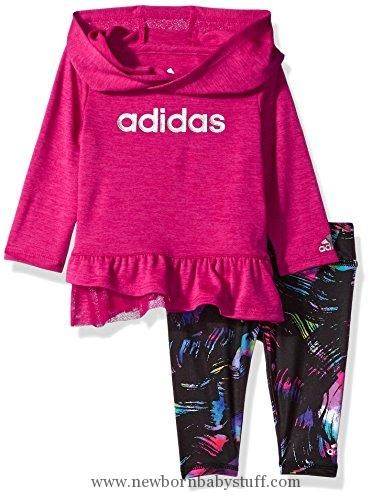 Baby Girl Clothes Adidas Baby Girls' Hoodie and Legging Set, Bold Pink Heather, 6M