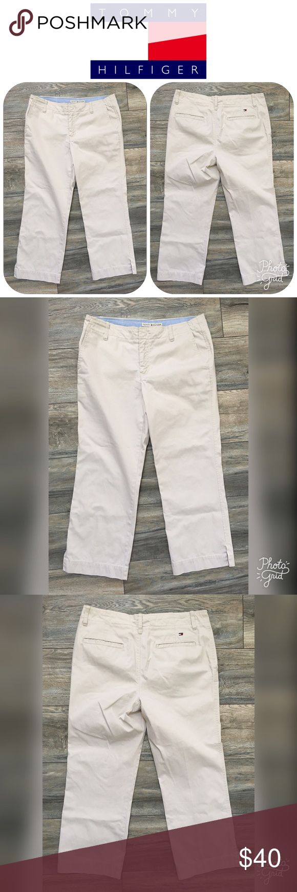 """NWOT TOMMY HILFIGER Dana Fit Khaki Capris Size 8 These are a pair of NEW WITHOUT TAGS TOMMY HILFIGER Dana Fit Khaki Capris in a size 8.  The inseam is approximately 25"""" and rise 10"""".  These Capris are super *CUTE* and originally $119! Tommy Hilfiger Pants Capris"""