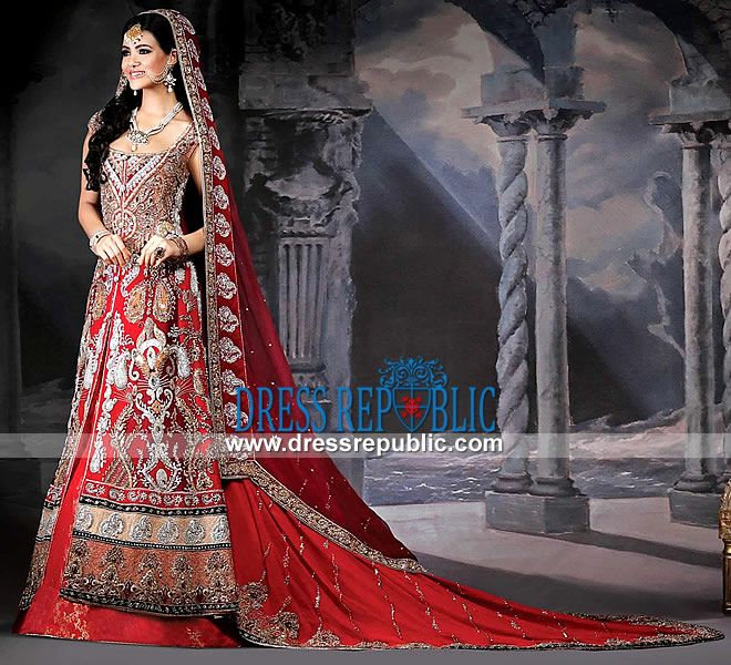 Traditional Red Bridal Lehenga With Train By RDC London 2014