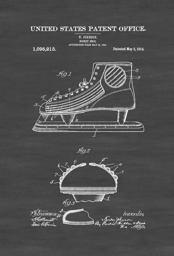 Ice Hockey Shoe Patent - Patent Print Wall Decor Hockey Art Hockey Patent Hockey Gift Hockey Shoe Hockey Blades Ice Blades by PatentsAsPrints #patentartgifts