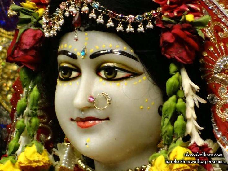 Sri Radha Close up Wallpaper  Click here to get more sizes...http://harekrishnawallpapers.com/sri-radha-close-up-iskcon-calcutta-wallpaper-002/   TO SUBSCRIBE: http://harekrishnacalendar.com/subscribe
