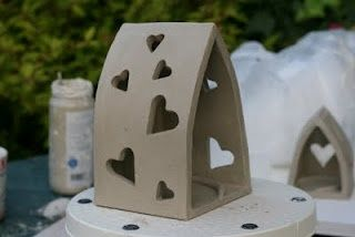 Slap built clay candle holder