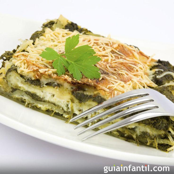 Receta para niños de lasaña de espinacas. Guiainfantil.com nos ofrece una alternativa rica y sabrosa para los niños que no prueban la verdura, con el paso a paso de esta receta de pasta.