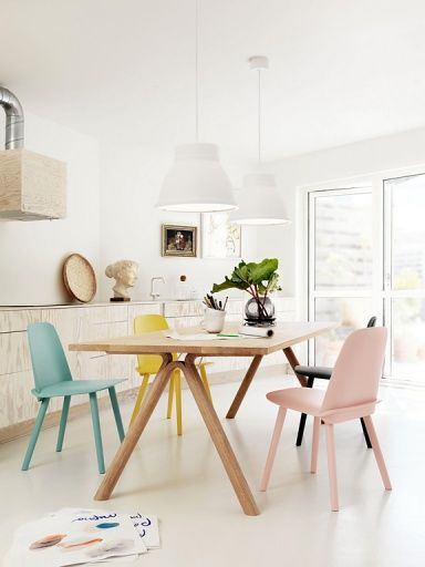 different pastel coloured chairs