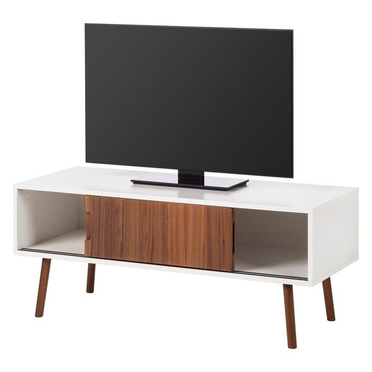 TV-Lowboard Verwood II - Weiß / Nussbaum | Wohnzimmer > TV-HiFi-Möbel > TV-Lowboards | Braun | Holzwerkstoff | Studio Copenhagen