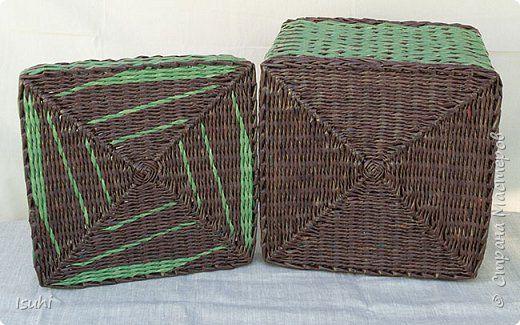 Поделка изделие Плетение Короба с квадратным дном Плетение орнаментов Трубочки бумажные фото 9