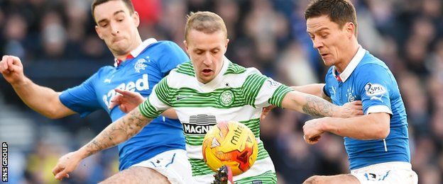 Celtic eased to victory over Rangers at Hampden to set up a League Cup final with Dundee United. In the first match between the sides since April 2012, Leigh Griffiths nodded the Premiership leaders in front on 10 minutes, with Kris Commons adding a powerful strike from 20 yards.