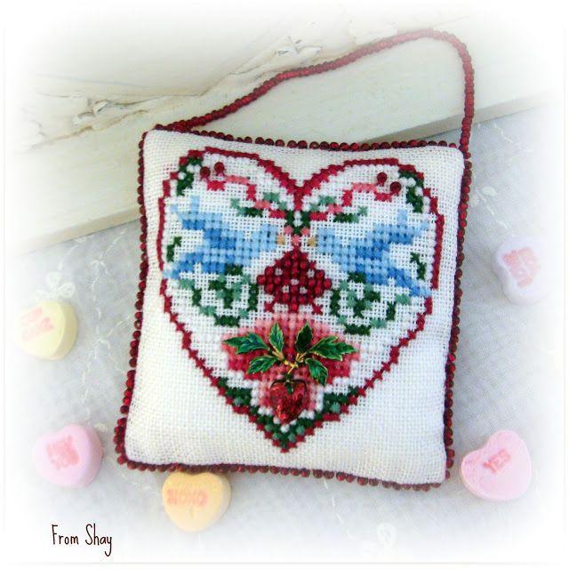 Just Nan cross stitch heart pillow ornament