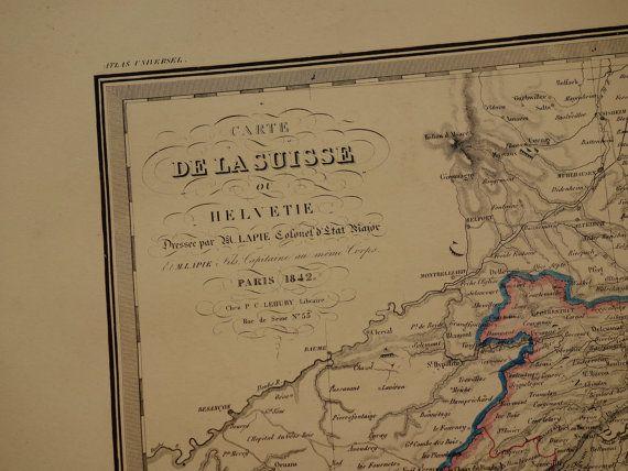 1842 SWITZERLAND antique map of Switzerland by VintageOldMaps