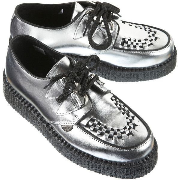 Underground Metallic Creepers (355 ILS) ❤ liked on Polyvore featuring shoes, creepers, silver, metallic leather shoes, silver metallic shoes, metallic shoes, leather shoes and creeper shoes