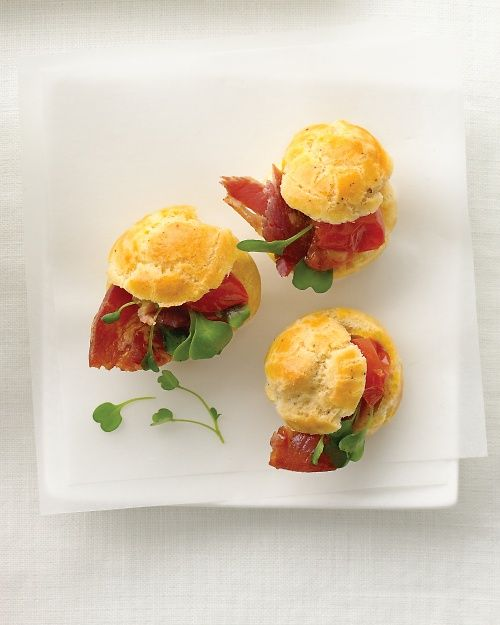 Black Pepper Gougeres with Pancetta and Tomato - Martha Stewart Weddings Appetizers