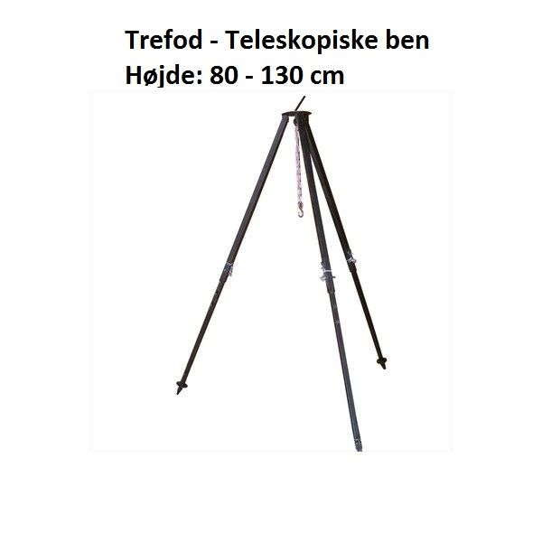 Trefod m. teleskop ben   Til gryder & pander over bålet