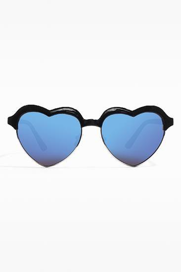 'Emery' Half Frame Heart Color Mirror Clubmaster Sunglasses - Black - 5500-1
