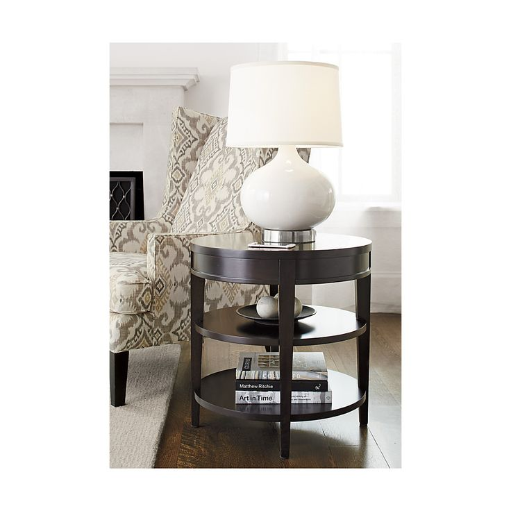 Shop Colette Round Side Table with Drawer.  Designed by Blake Tovin, the Colette Side Table is a Crate and Barrel exclusive.